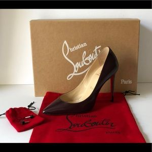 CHRISTIAN LOUBOUTIN PIGALLE 100 BROWN PATENT